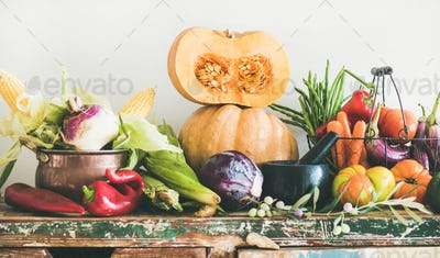 Assortment of various Autumn vegetables for healthy cooking