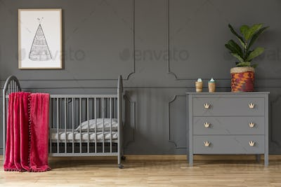 Plant on grey cabinet next to kid's bed with red blanket in bedr
