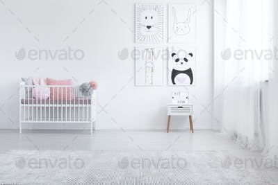 Pink pillow in cradle and posters on the wall in white child's r