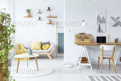 Posters above desk with laptop in white living room interior wit