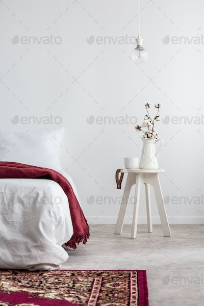 Plant on table next to bed with red blanket in white bedroom int