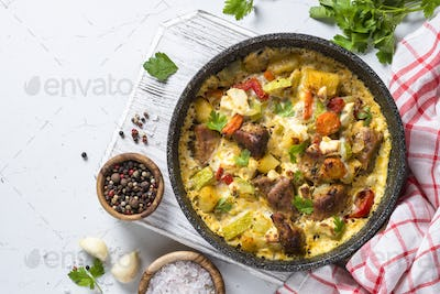 Frittata with meat and vegetables top view