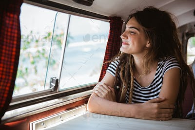 portrait young woman enjoy the trip