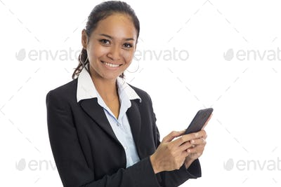 young business woman texting on mobile phone