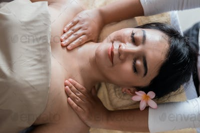 woman relaxing in the spa massage