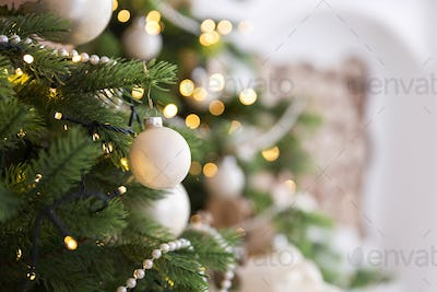 Christmas tree decorations, holiday background