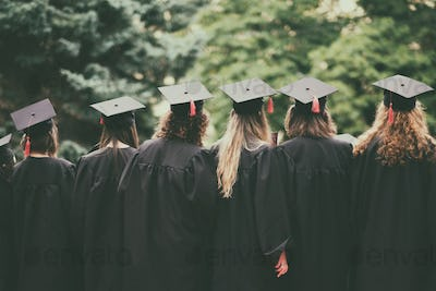 group of graduated students back view
