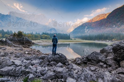 Active man standing on rock looking at alpine scenery