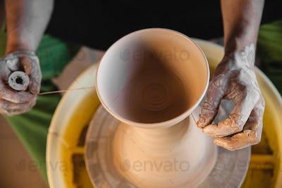Potter master creating new ceramic