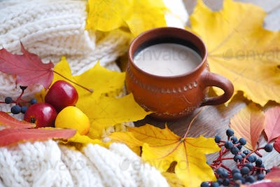 Autumn composition. Cup of coffee, colorful leaves and scarf on
