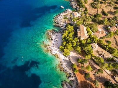 Aerial  view of  Agios Nikolaos city  in Zakynthos (Zante) islan