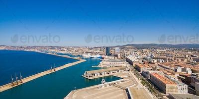 Aerial view of Marseille pier - Vieux Port, Saint Jean castle, a