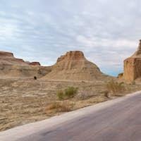 road passes through the wind erosion landforms