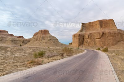 road passes through the wind erosion landforms