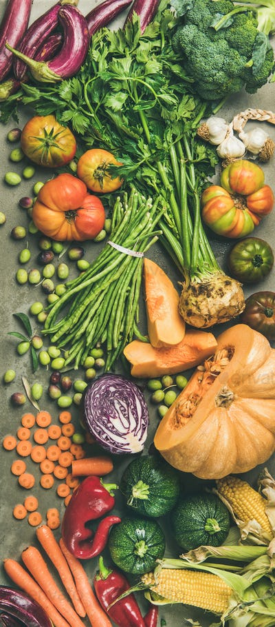 Healthy vegetarian Fall food cooking ingredients from local market