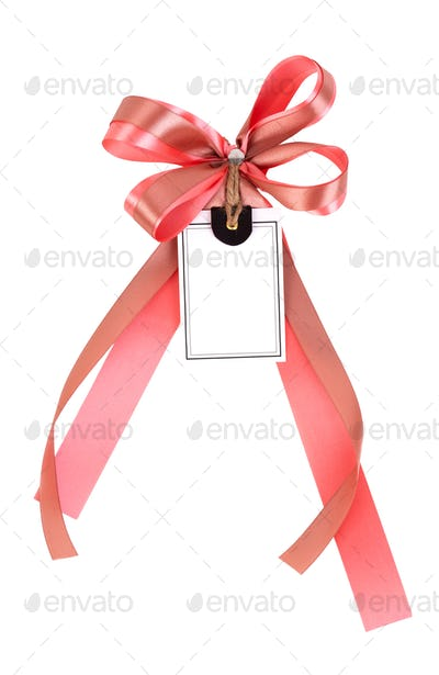 ribbon bow with label tag