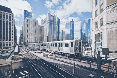 Elevated railway train in Chicago
