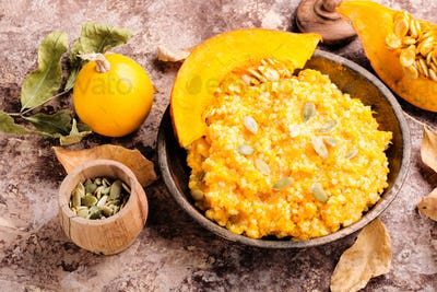Pumpkin porridge and pumpkins