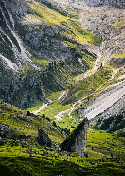 Close up of Seceda mountain in the Dolomites, South Tyrol, Italy