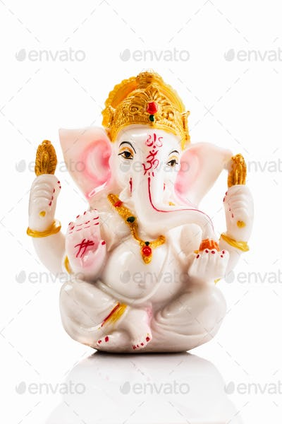 Ganesha statue on white