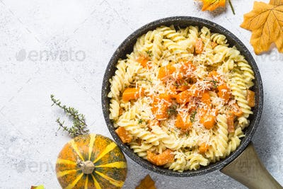 Pumpkin pasta with thyme, cream sauce and parmesan