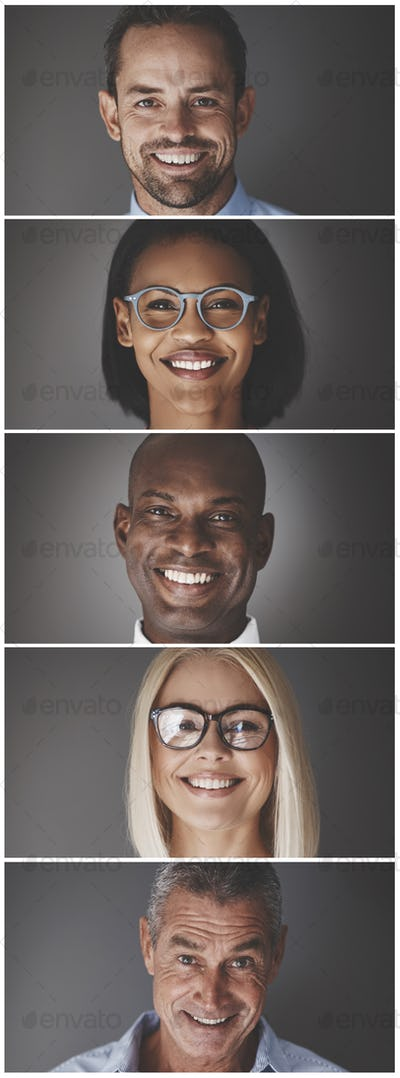 Group of diverse businessmen and businesswomen smiling confidently