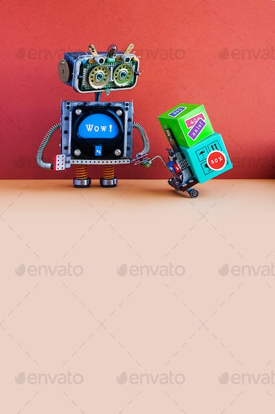 Surprised robotic character with message wow moving shopping cart boxes