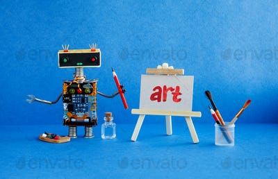 Art and robotic artificial intelligence concept.