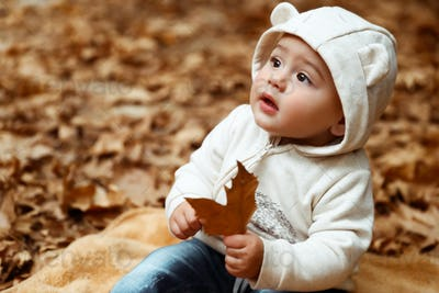 Sweet baby in autumn forest