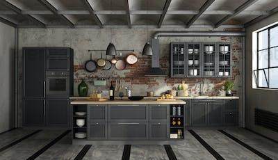 Retro black kitchen in a old room