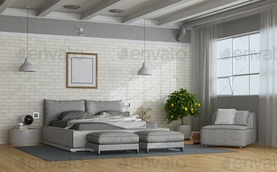 White and gray modern mastern bedroom