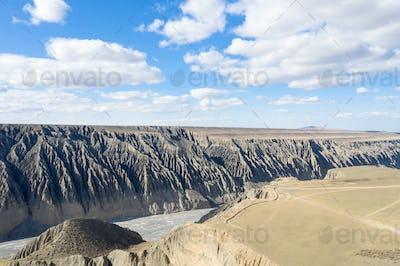 beautiful kuitun grand canyon, the tourist attraction of xinjiang