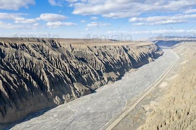 aerial view of kuytun grand canyon , xinjiang landscape