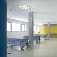Public building waiting area. Hospital interior detail. Nobody. Horizontal