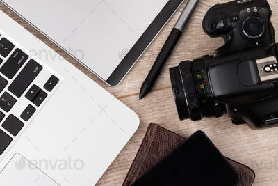 Close-up view of photographer of graphic designer workplace