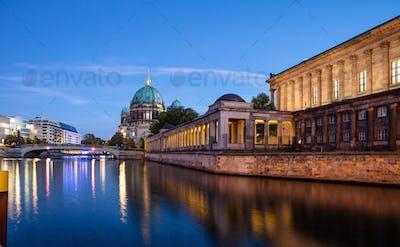 Bode museum illuminated, Spree river, museum island, Berlin, in the evening.