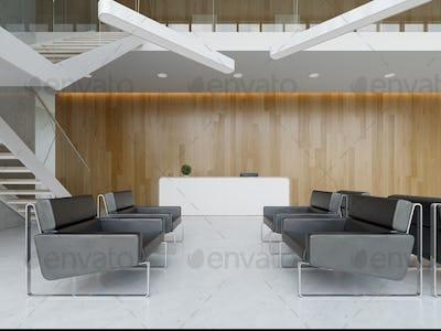 Interior of a hotel office lobby spa reception 3D illustration
