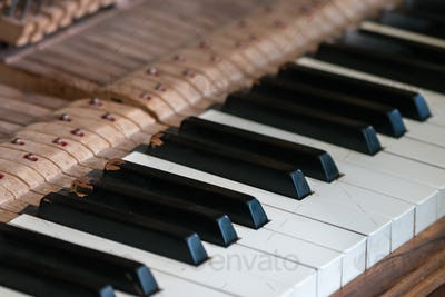 Close up of keys of an old vintage piano