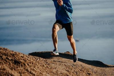 man runner run steep mountain
