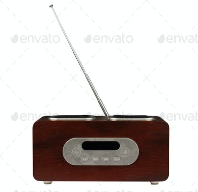modern radio with wooden finish isolated white