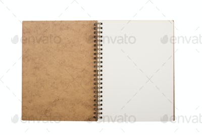 open notebook with metal spiral