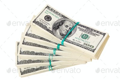 Dollar banknotes in stacks