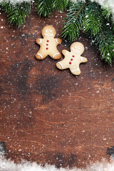 Christmas gingerbread cookies and fir tree