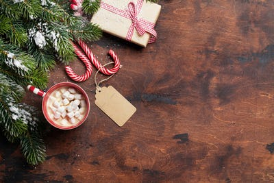 Christmas gift box, candy canes, hot chocolate