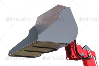 Shovel of excavator or bulldozer on white background, part of industrial machinery
