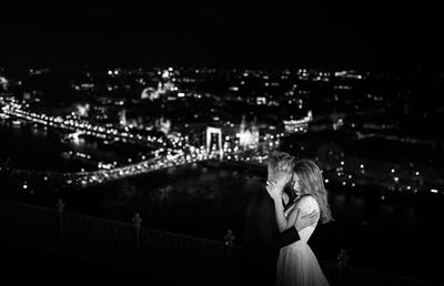 Lovely bride and groom on a background of Budapest