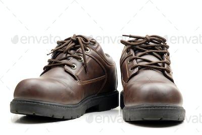Brown leather man shoes isolated