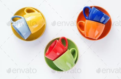 empty cup and saucer on white  background