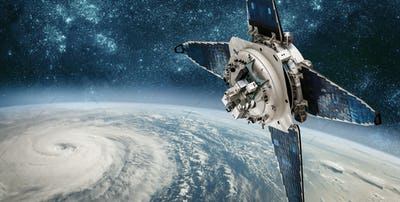 Space satellite monitoring from earth orbit weather from space,
