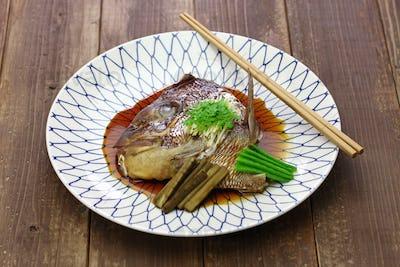 simmered sea bream head, tai no kabutoni, japanese cuisine